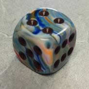 27841 36 Vibrant w/brown Festive 12mm D6 Dice