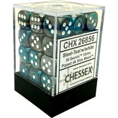 36 Steel-Teal w/white Gemini 12mm D6 Dice
