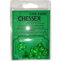 7 Green w/white Transparent Polyhedral Dice Set - CHX23055