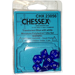 7 Blue w/white Transparent Polyhedral Dice Set - CHX23056