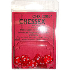 7 Red w/white Transparent Polyhedral Dice Set - CHX23054