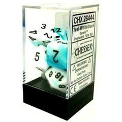 Gemini 7 Dice set (CHX26444) - Teal-White / Black