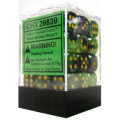 36 Black-Green w/Gold Gemini 12mm D6 Dice Block