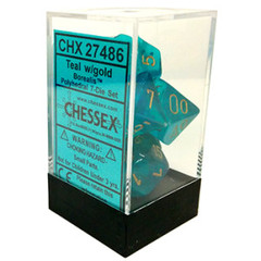 7 Teal w/gold Borealis Polyhedral Dice Set - CHX27486