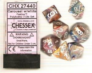 7 Carousel w/white Festive Polyhedral Dice Set - CHX27440