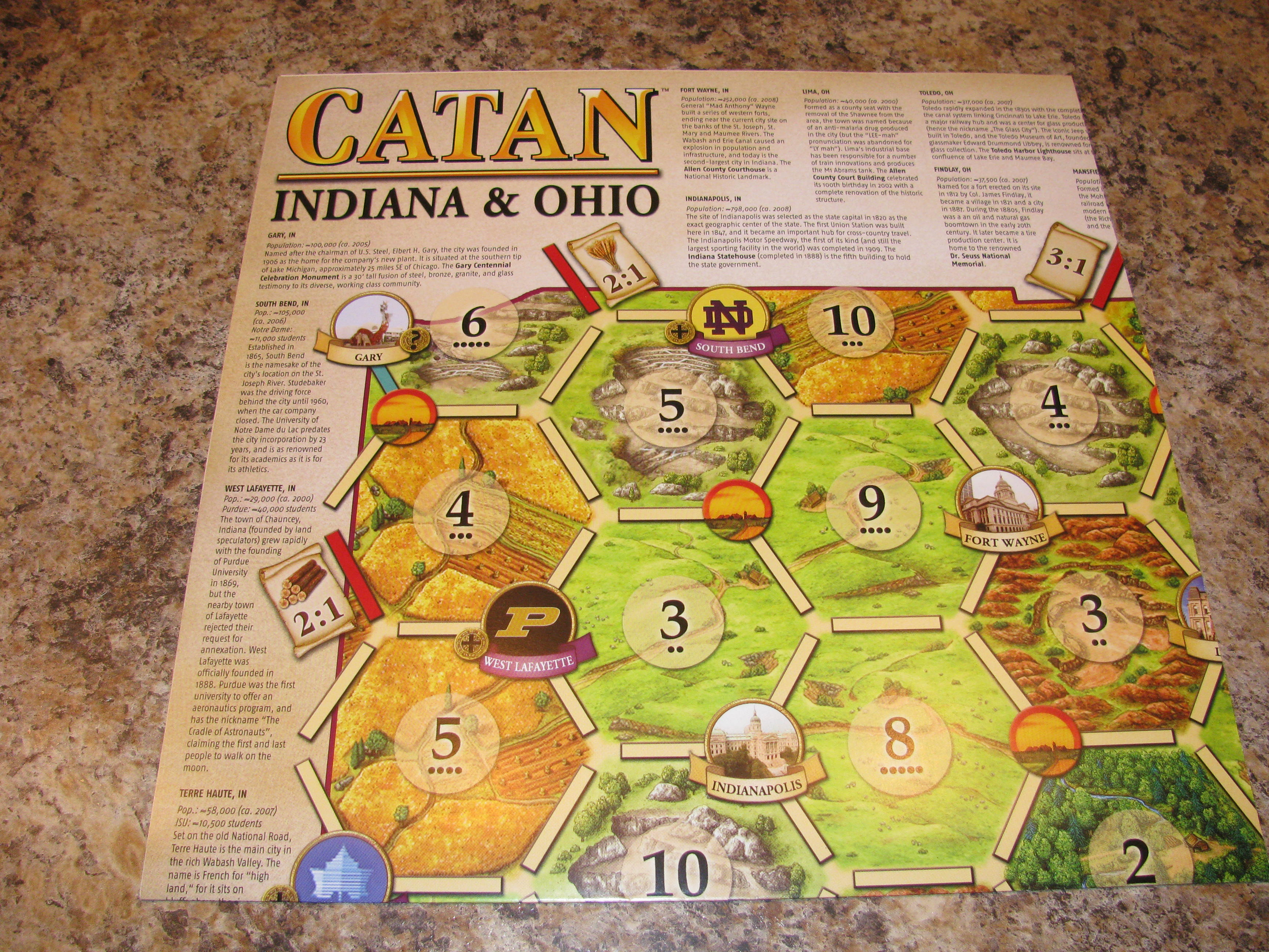 Catan Geographies: Indiana and Ohio
