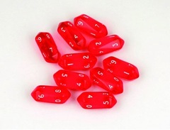 10 piece D10 Translucent - Red
