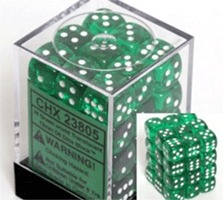 36 Translucent Green w/White D6 Dice Set - CHX23805