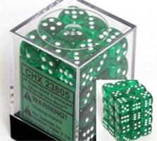 23805 36 Translucent Green w/White D6 Dice Set