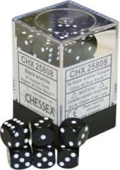 36 Black w/White 12mm D6 Dice Block - CHX25808