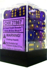 12 Borealis Royal Purple w/Gold 16mm D6 Dice Set - CHX27667