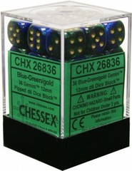 36 12mm Blue Green w/Gold Gemini D6 Dice Set - CHX26836