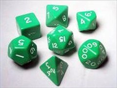 13322 Jumbo Dice Set 7 Polyhedral Green 28mm TUBE