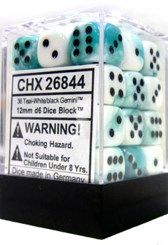 36 Teal-White w/Black Gemini D6 Dice Set - CHX26844