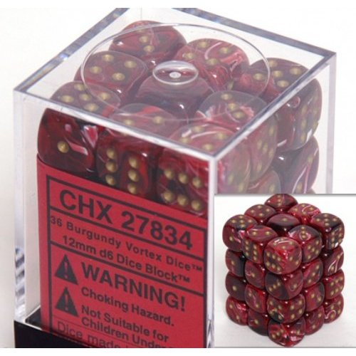 36 Burgundy / Gold Vortex Dice 12mm D6 Dice Block - CHX27834