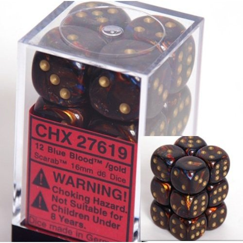 12 Blue Blood /gold Scarab 16mm D6 Dice Block - CHX27619
