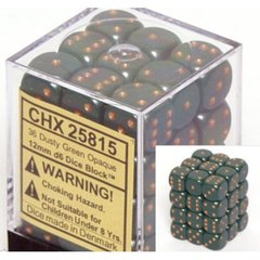 CHX 25815 - 36 Dusty Green w/ Copper Opaque 12mm d6 Dice