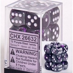 12 Purple-Steel /white Gemini 16mm D6 Dice - CHX26632