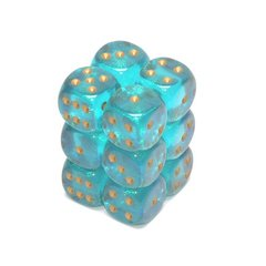 12 Teal /gold Borealis 16mm D6 Dice Block - CHX27686