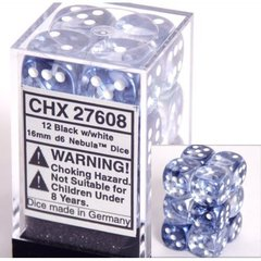 12 Black w/white 16mm D6 Nebula Dice Block - CHX27608