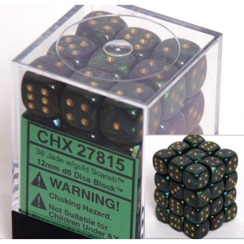 36 Jade w/gold Scarab 12mm D6 Dice Block - CHX27815