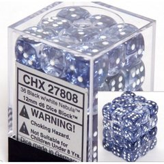 27808 36 Black w/white Nebula 12mm D6 Dice Block