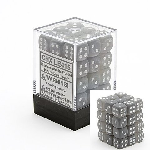 36 Smoke w/white Frosted 12mm D6 Dice Block - CHXLE415