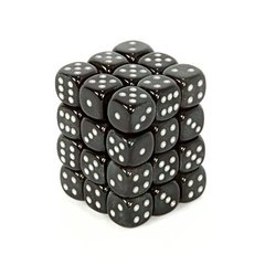 27828 36 Smoke w/silver Borealis 12mm D6 Dice Block