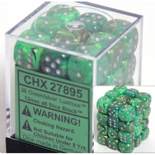 36 Green w/silver Lustrous 12mm D6 Dice Block - CHX27895