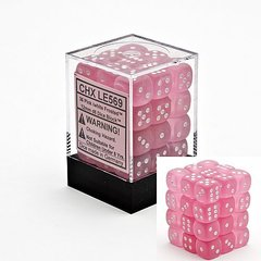 12mm D6 Dice Block: Frosted - Pink w/White - CHX27864