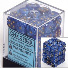 36 Vortex Blue Dice 12mm D6 Dice Block