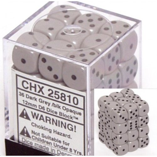 36 Dark Grey w/black Opaque 12mm D6 Dice Block - CHX25810