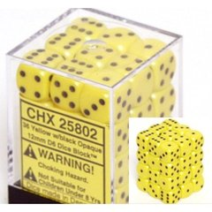 36 Yellow w/black Opaque 12mm D6 Dice Block - CHX25802