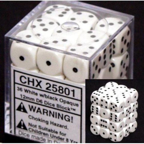 36 White w/black Opaque 12mm D6 Dice Block - CHX25801