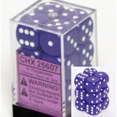 CHX 25607 - 12 Purple w/ White Opaque 16mm d6 Dice