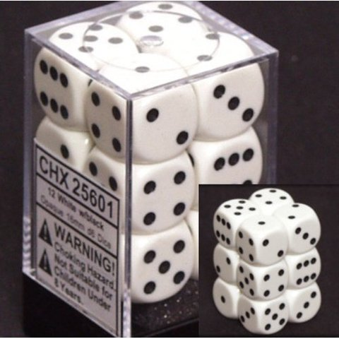 Chessex 12 ct White w/black Opaque 16mm D6 Dice Block - (25601)