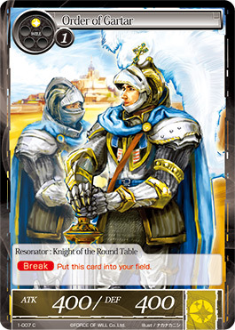 Force Of Will Knights Of The Round Table.Order Of Gartar 1 007 C Force Of Will Singles Starter Deck
