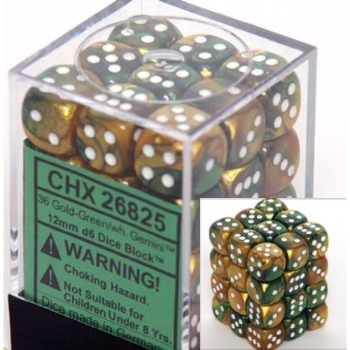 36 Gold-Green w/white Gemini 12mm D6 Dice Block - CHX26825