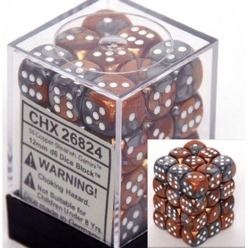 36 Copper-Steel w/white Gemini 12mm D6 Dice Block - CHX26824