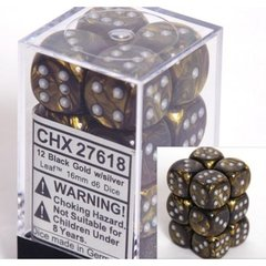 12 D6 Dice Block - 16mm Leaf Black Gold with Silver - CHX27618