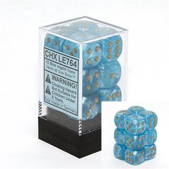 12 Blue w/gold Easter 16mm D6 Dice Block - CHXLE764