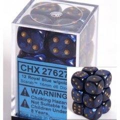 12 Royal Blue w/gold Scarab 16mm D6 Dice Block - CHX27627