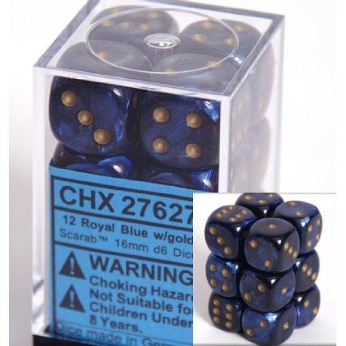 12 Royal Blue w/gold Scarab 16mm D6 Dice Block - CHX27627