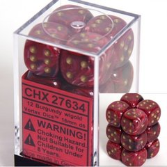12 Burgundy w/gold Vortex 16mm D6 Dice Block - CHX27634