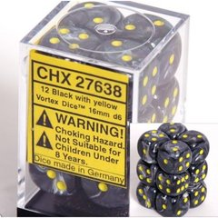 12 Black w/yellow Vortex 16mm D6 Dice Block - CHX27638