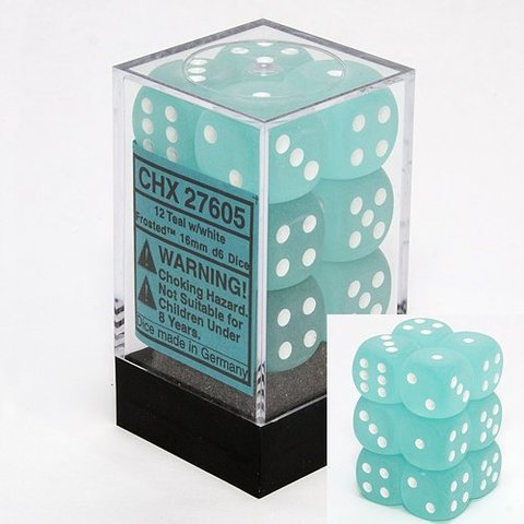 12 Teal w/white Frosted 16mm D6 Dice Block - CHX27605
