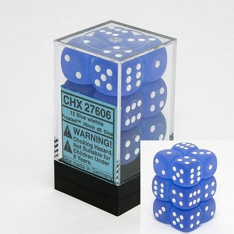 12 Frosted Blue w/white 16mm D6 Dice Block - CHX27606
