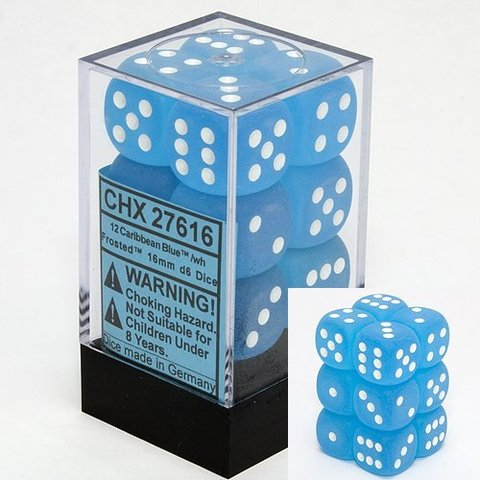 12 Caribbean Blue w/white Frosted 16mm D6 Dice Block - CHX27616
