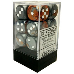 12 Copper-Steel/wht Gemini 16mm D6 Dice Block - CHX26624