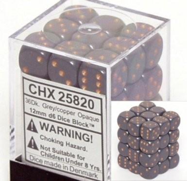 36 12mm Grey w/Copper Opaque D6 Dice - CHX25820